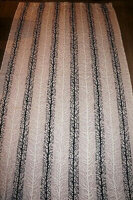 Vintage 50s 60s trees twigs black beige cream cotton barkcloth fabric curtain
