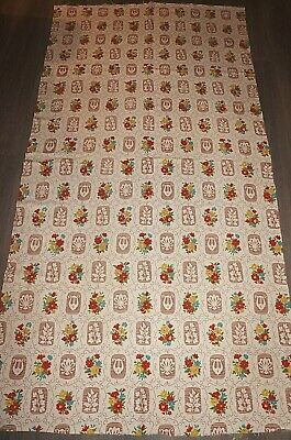 Vintage 40s floral harp leaf sprays scrolling cotton fabric print large length