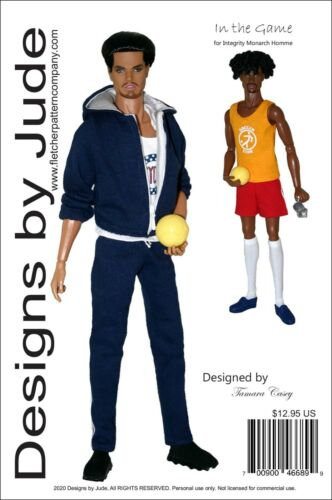 """In the Game Doll Clothes Sewing Pattern for 13"""" Monarch Homme Integrity Dolls"""