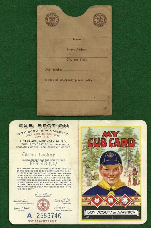 VINTAGE 1947 BI-FOLD CUBS BSA MEMBERSHIP CARD