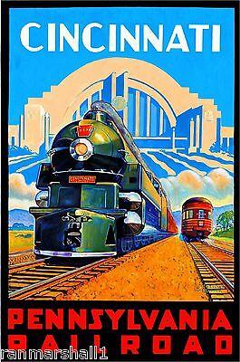 Cincinnati Pennsylvania Vintage Railroad U.S. Travel Advertisement Art Poster