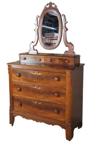 Antique Victorian Walnut Burl Dresser Chest w Mirror Step Back Glovebox Drawers