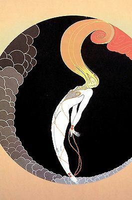 Erte 1982 - EMOTIONS - LOVE - BONDAGE - Lady in Chains - Art Deco Print Matted