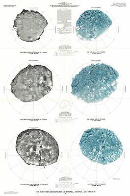 1988 U.S. Geological Survey Map of Umbriel, Titania and Oberon, Uranus' Moons