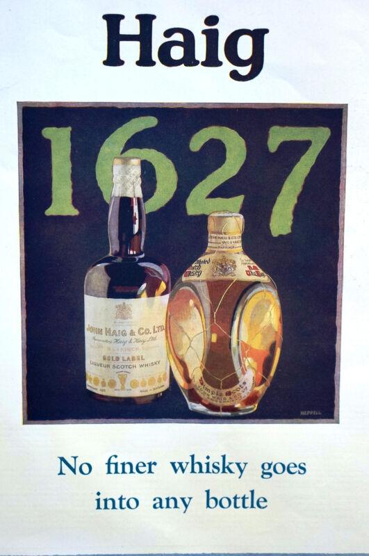 John Haig and Haig 1929 GOLD LABEL SCOTCH WHISKEY Matted Print Advertising