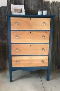 Gorgeous teal and natural wood tall boy dresser