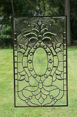 Stunning Tiffany Style stained glass Clear Beveled window panel, 20.5
