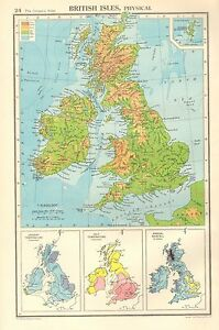 1952-MAP-BRITISH-ISLES-PHYSICAL-SHOWING-RAINFALL-TEMPERATURE