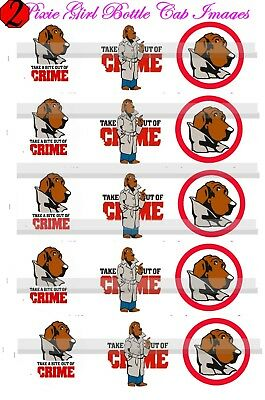 MCGruff Crime Stoppers Dog Take A Bite Out Of Crime 15 Precut  BOTTLE CAP IMAGES