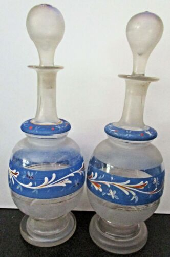 2 Blown Glass Hand Painted Barber Bottles, Ground Glass Stoppers, Frosted Glass
