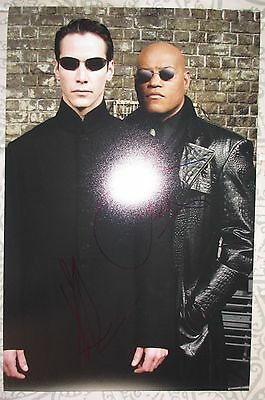 Keanu Reeves Laurence Fishburne Signed 11X17 Photo Dc Coa  Matrix  Super Rare