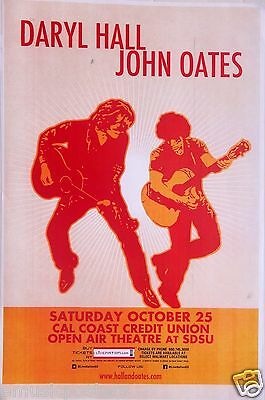 DARYL HALL & JOHN OATES 2014 SAN DIEGO CONCERT TOUR POSTER - Duo Playing Guitars