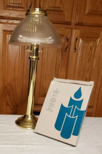 Vtg Partylite Brass Taper Candle/Lamp Ribbed Glass Shade Gaslight plus candles