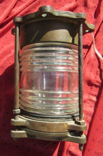 ANTIQUE MASSIVE BRONZE RUNNING LIGHT LANTERN LAMP MARINE MARITIME BOUY 18 lbs.