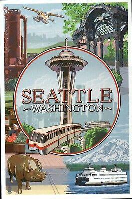 Seattle Washington Montage, Space Needle, Ferry, Monorail etc. - Modern Postcard