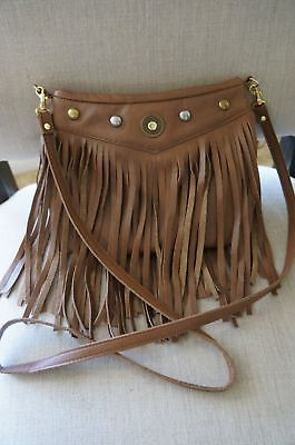 Designer JJ Winters Bohemian Fringe Medium Crossbody Messenger Shoulder Bag Wine ()