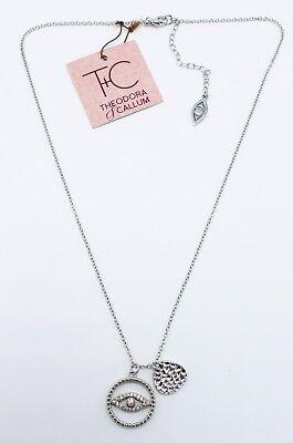 New Hamsa Evil Eye Good Luck CZ Designer Pendant Necklace by Theodora & Callum  Designer Evil Eye
