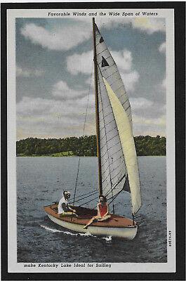 Sail boat sailing on Kentucky Lake KY linen postcard