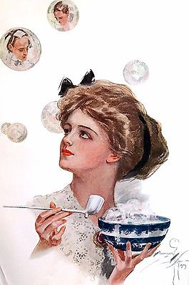 Harrison Fisher Girl 1910 VICTORIAN WOMAN BLOWING BUBBLES Antique Fashion Print