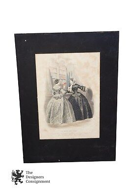 Antique A. Portier Les Modes Parisiennes Ladies Fashion Color Engraving Ca 1850s