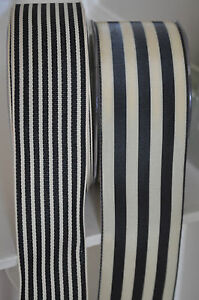 1M-Stylish-Vintage-Style-Ribbon-Trim-Cream-Black-Stripe-Craft-Wedding-Florist