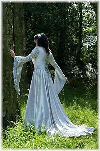 Medieval Wedding Dress Gown Silver Velvet Brocade LOTR Gothic Pagan Obsidian MTM