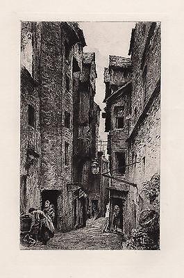 """1800s William LOCKHART Historic Etching """"Advocate's Close, Edinburgh"""" SIGNED COA"""