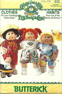 ORIGINAL BUTTERICK #443 ~CABBAGE PATCH DOLL CLOTHES PATTERN OOP
