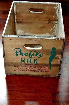 Vintage Profile Milk Wood & Metal Dairy Milk Crate Carrier Antique Primitive OLD