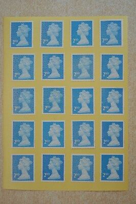 100 Blue Security Unfranked 2nd Second Class Stamps - Peel and Stick - Gummed