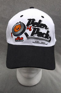 NHL Peter Puck Cartoon White Black OSFA Adjustable Baseball Ball Cap Hat
