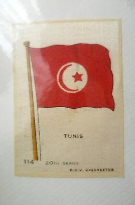 B.D.V. Cigarettes Silk FLAG- TUNIS FLAG, 20th Series (7x5 cm)