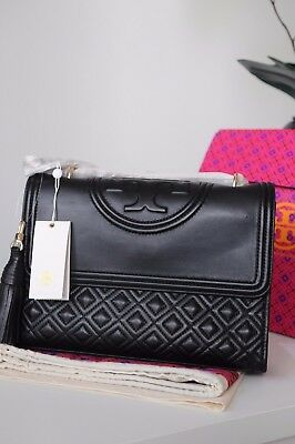 Nwt Tory Burch Fleming Large Convertible Shoulder Bag Black Authentic