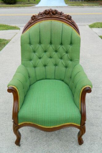 "Walnut Victorian Parlor Arm Chair ""Sleepy Hollow Chair"" circa 1865"