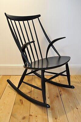 Vintage Retro 60's Danish Black Illum Wikkelso Rocking Chair / Rocker