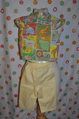 CHILDS 2 - 3 ANIMAL SCRUB TOP & YELLOW PANTS  HALLOWEEN  COSTUME DRESS UP CUTE - Childs, Scrub