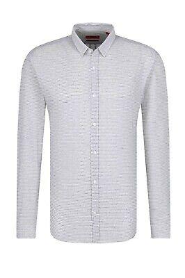 Hugo Boss Men's Shirt ERO3-W Printed White Black 100% Cotton Extra Slim Fit ()