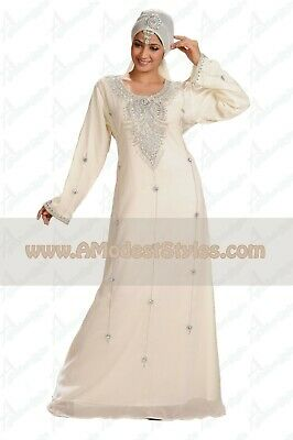 White DUBAI ABAYA KAFTAN Hijab Muslim Islam Wedding Dress *USA SELLER* MD0552