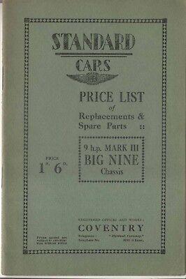 Standard Big Nine Mk III Original illustrated Spare Parts Price List 1931