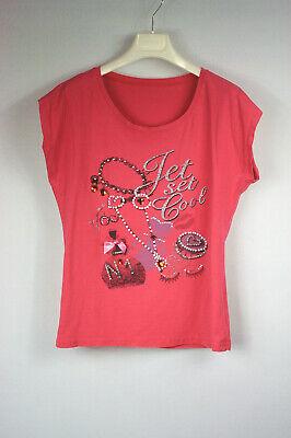 Strass Baumwolle, Elasthan (Shirt ohne Arm pink vorne bedruckt mit Strass Baumwolle/Elasthan Gr. L)