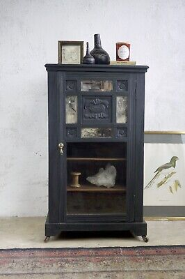 Antique Black Ebonised Glazed Foxed Mirror Cabinet Display Case Coasters Carved