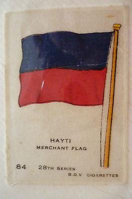 28TH SERIES SILK- HAYTI MERCHANT FLAG- B.D.V. CIGARETTES SILK (6.6X4.6cm)