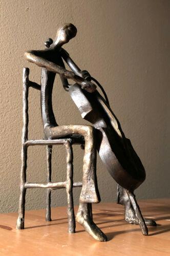 4 stringed bronze? cello violoncello muscian + instrument statue figurine figure