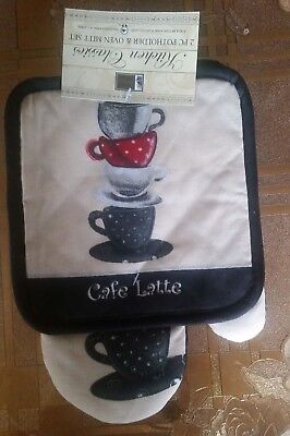 2 pc KITCHEN SET: 1 OVEN MITT & POT HOLDER, STACK of COFFEE CUPS. black by BH ()