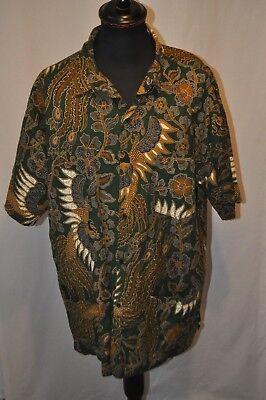 Vintage green oriental Hawaiian summer short sleeve shirt size XXL