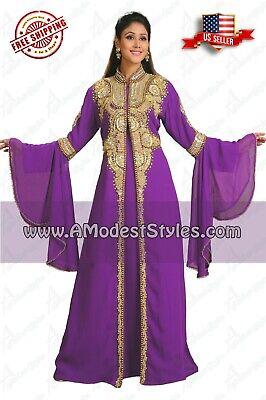 Purple ABAYA KAFTAN FARASHA Dubai Morocco Party Wedding Dress *USA SELLER* 0509
