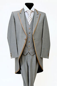 MJ-71-LIGHT-GREY-WILVORST-TWO-PIECE-FORMAL-TAILS-SUIT-WEDDING-MORNING-MENS