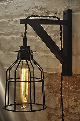 Bulb Guard Wall Sconce Cage Light Lamp Industrial Retro Vintage Solid Wood