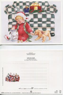 CHRISTMAS CHILD SANTA COOKIE JAR GOLDEN RETRIEVER DOG 1 CAROUSEL HORSE PONY CARD