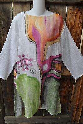 Dilemma Hand Painted Artist Inspired Gauze Art To Wear Long Tunic Dress Os